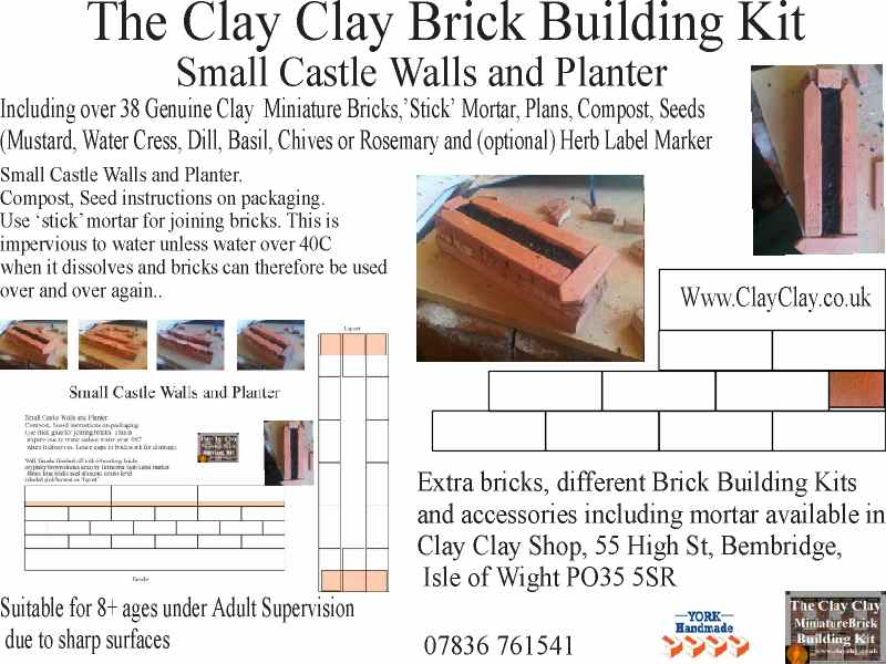 Small Castle Walls Planter Kit (compost, terracotta herb label and seeds included). Clay Clay Miniature Brick Building Kit